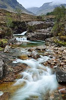 Waterfall at Glen Etive, Glen Etive, Highland, Scotland, Great Britain, United Kingdom