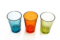Three colorful glasses