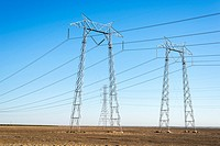 Power lines and towers. Central California, USA.