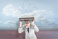 Composite image of geeky businessman holding his briefcase over head