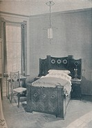 A child's bed designed by Peter Behrens, executed by TD Heymann, 1901. Artist: Unknown.