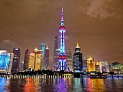 night view on Pudong skyline seen from the Bund, Shanghai, China.