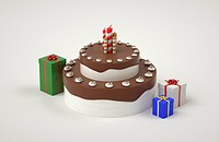 a cake next to presents