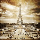 Eiffel tower view from Trocadero square, vintage retro, Paris, France