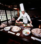 Japan, Tokyo, Teppan chef preparing a food (Large format sizes available)