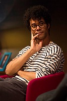 Richard Ayoade attends a talk for Advertising Week Europe: Lights, Camera, Upload in Princess Anne Theatre in London.