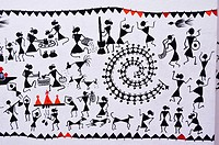 Hand made warli painting, While there are no records of the exact origins of this art, its roots may be traced to as early as the 10th century AD Rese...