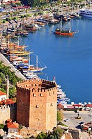 View of Alanya harbor form Alanya peninsula. Turkish Riviera.