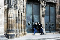 St Lorenz church in Nuremberg, Bavaria, Germany on February 15, 2015. Students take selfie, self portrait in front of the entry to the church. (CTK Ph...