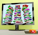 Three Stacks Of Books On Computer Showing Online Learning