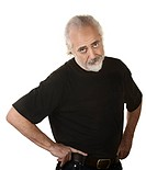 Frustrated older man in beard and hands on hips