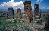 Carved memorial stones or Khachkars dating from 13th century.