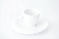 white cup with saucer
