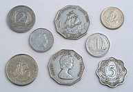 Variety of Eastern Caribbean dollar coins in various cent denominations used as currency by the members of the Organisation of Eastern Caribbean State...