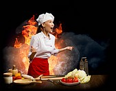 Asian woman furious chef shouting with clenched fists, smoke and flames of rage