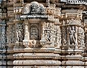 Ancient Sun Temple in Ranakpur. Jain Temple Carving. Ranakpur, Rajasthan, Pali District, Udaipur, India. Asia.