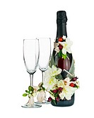 Champagne Bottle and Glass with Wedding Decoration of Flower Arrangements Isolated on White Background.