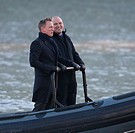 Daniel Craig and Rory Kinnear film a scene for the new Bond movie Spectre on the River Thames in London Featuring: Daniel Craig, Rory Kinnear Where: L...