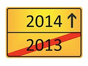 A german road sign with the numbers 2013 and 2014