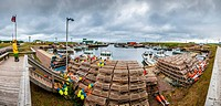 Panoramic hdr view of a wharf of a small fisherman's village in Prince Edward Island Canada