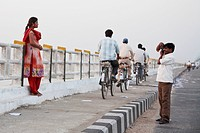 Man Photographing His Wife On The Mahatma Gandhi Seti (Bridge), Patna, Bihar, India