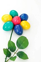 Colored Easter eggs arranged in the shape of a flower