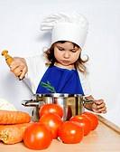 Little Cook Girl Preparing Food
