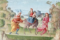 Flight into Egypt, 16th century, Meloni, Marco (fl.1504-37) / Private Collection / Roy Miles Fine Paintings / Bridgeman Images