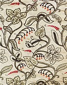 Crewel-work hanging of a floral design, late 17th century (wool embroidery on linen), . / Hardwick Hall, Derbyshire, UK / Bridgeman Images
