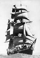 Sydney, Australia: February 7, 1936.The frigate rigged sailing ship, the Joseph Conrad as she leaves Australia under full sail on her trip around the ...