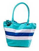 turquoise striped beach bag