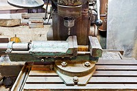vice and drill of old boring machine close up