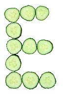 Vegetable Alphabet of chopped cucumber - letter E