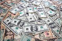 American Dollar bank notes many banknotes bills