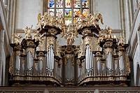 Saint Barbara church - Organ Loft and Stained glass in the churc
