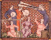 Ms 1044 fol.103v Musicians, from Ovide Moralise written by Chretien Legouais (vellum), French School, (14th century) / Bibliotheque Municipale, Rouen,...