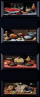 Four Still Lives of Food and Fruit (oil on panel), Kessel, Jan van, the Elder (1626-79) / Musee d'Art Thomas Henry, Cherbourg, France / Bridgeman Imag...