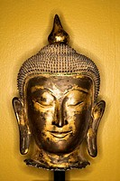 Bronze Buddha head.