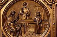 The Holy Family in Saint Josephs carpentry workshop St Josephs chapel, Notre Dame de la Treille cathedral.