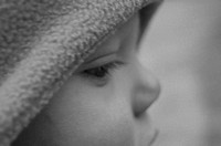 Soft Focus Black and White Closeup Side View of Baby