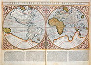 Double Hemisphere World Map, 1587 (coloured engraving), Mercator, Gerardus (1512-94) / Private Collection / Bridgeman Images