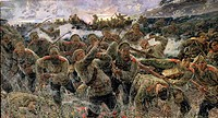 The bayonet fighting, 1904 (oil on canvas), Karyagin, Pyotr Pavlovich (1875-1928) / State Museum and Exhibition Centre ROSIZO, Moscow / Bridgeman Imag...