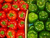 Red and green bell peppers.
