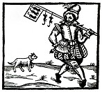 The Ratcatcher (woodcut), English School, (17th century) / Private Collection / Bridgeman Images