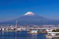 Japan, Tokai Region, Shizuoka Prefecture, Fuji, View of Mount Fuji in front of Port of Tagonoura.
