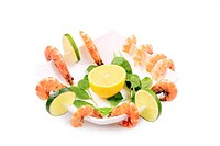 Composition of shrimps and lime.