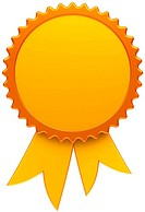 Award ribbon blank golden medal