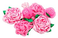 different beautiful artificial flowers of handwork