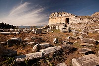 View to the ancient ruins in Miletus, Milet, Aydin Province, Turkey, Europe.