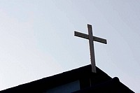 silhouette of cross on Top of the church in Thailand, in white b